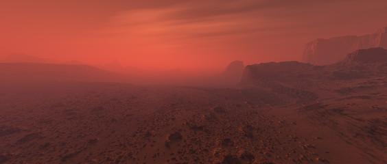 Bare rough rocky mars terrain in fog. Wall mural