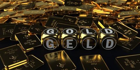 Fototapete - Geld Gold Barren Würfel 10 Oz