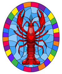 Illustration in stained glass stile with abstract red crayfish on a blue background , oval picture in a bright frame