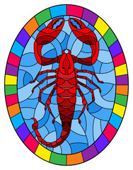 Illustration in stained glass style with abstract red  Scorpion on blue background,oval picture in a bright frame,