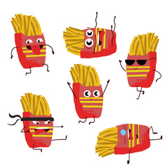 Funny fried potatoes illustration isolated. Food concept.