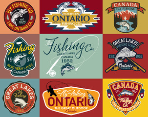 Great lake Canada fly fishing club vintage vector labels collection