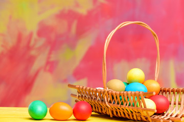Colorful eggs in basket. Healthy and happy holiday. painted eggs in egg tray. Egg hunt. Happy easter. Spring holiday. Holiday celebration, preparation. copy space. Spring beauty