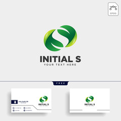 letter S leaf, initial logo template vector illustration icon element
