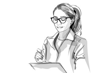 Woman doctor Vector sketch storyboard. Detailed character illustrations Fototapete