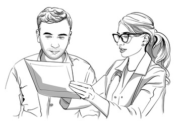 Woman doctor and patient Vector sketch storyboard. Detailed characters illustrations