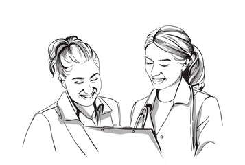Happy two women doctors smiling Vector sketch storyboard. Detailed character illustrations