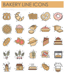 Bakery outline icons set on white background for graphic and web design, Modern simple vector sign. Internet concept. Trendy symbol for website design web button or mobile app