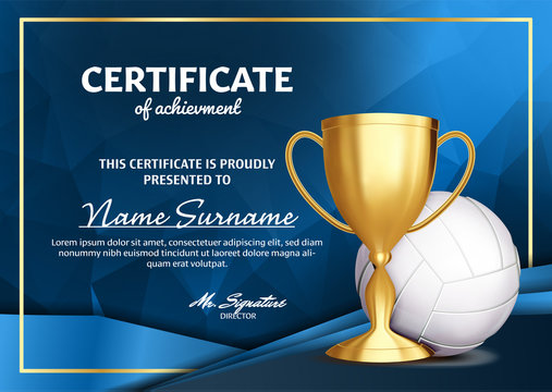 Volleyball Certificate Diploma With Golden Cup Vector. Sport Award Template. Achievement Design. Honor Background. A4 Horizontal. Illustration