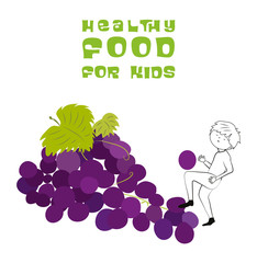 Healthy food for kids vector illustration. Fun and happy children playing on grapes isolated on white background.