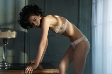 Canvas Prints womenART beautiful woman in sexy lingerie pose in home interior