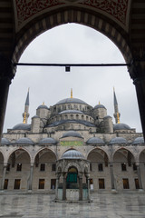 The courtyard of Sultanahmet Blue Mosque with no people, Istanbul, Turkey