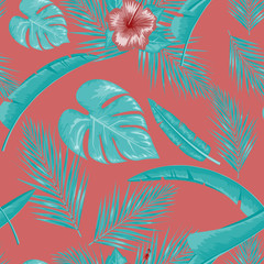 Exotic abstract vector jungle or tropical leaf and flower seamless pattern. Vector illustration. Blue leaf and red background.
