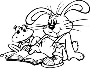 Obraz Żaba i królik czytają książkę - fototapety do salonu