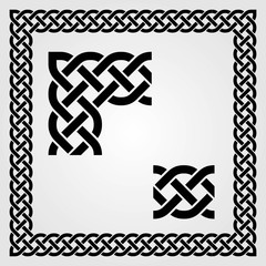 Celtic Style frame, pattern and corner isolated on white background. Vector illustration