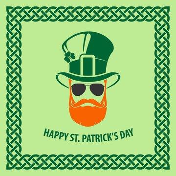 St. Patrick's Day Holiday poster, banner, label, badge, emblem or greeting card design with hipster leprechaun. Vector illustration.