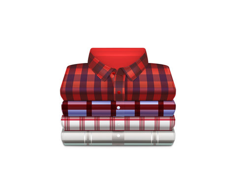 Various color, checkered cotton shirts folded in stack 3d realistic vector isolated on white. Mens casual fashion, everyday garment icon. Housekeeping concept, clothing store sale ad design element