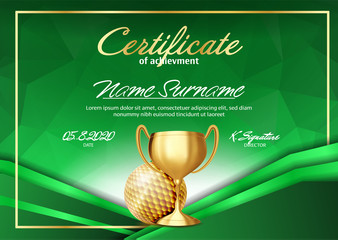 Golf Game Certificate Diploma With Golden Cup Vector. Sport Graduate Champion. Best Prize. Winner Trophy. A4 Horizontal. Illustration