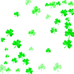 St patricks day background with shamrock. Lucky trefoil confetti. Glitter frame of clover leaves. Template for voucher, special business ad, banner. Festive st patricks day backdrop.