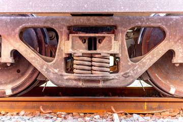 The detail of old wheels train,  vintage locomotive train.