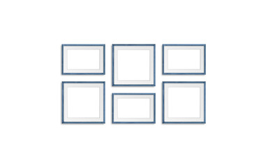 Blank frames, six blue realistic wooden frameworks isolated on white background