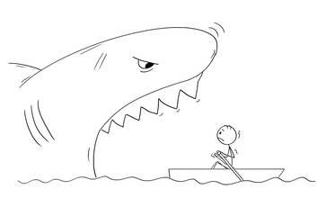 Cartoon stick figure drawing of man in small boat and dangerous giant shark with open mouth ready to devour him.