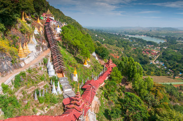 Path to the Pindaya caves, Buddhist shrine where thousands of Buddha images have been consecrated for worship over the centuries, Myanmar.