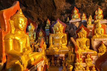 These caves are Buddhist shrines where thousands of Buddha images have been consecrated for worship over the centuries in Pindaya, Myanmar.