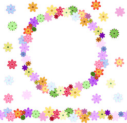 Vector floral seamless flower brush. Floral design, flower backdrop. drawn pattern, spring colorful wreath from different spring flowers. Endless horizontal brush. Seamless horizontal border.