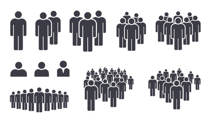 People crowd team symbol icons Wall mural