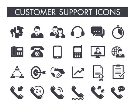 Customer support service icon set