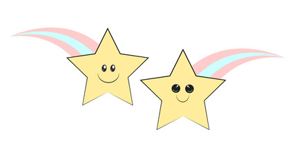 Shooting star funny character. Falling star smile sticker