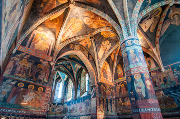 Medieval frescoes in Chapel of the Holy Trinity at Lublin Castle, Poland.