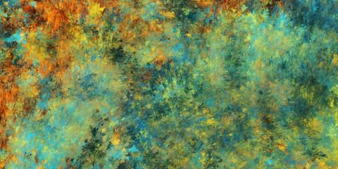 Abstract teal and orange fantastic clouds. Colorful fractal background. Digital art. 3d rendering.