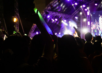 Silhouettes of crowd at concert, People with hands up.