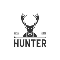 Vintage hunter logo design inspiration in black color