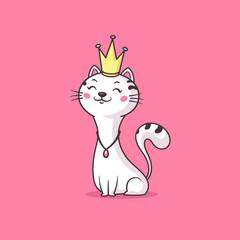 Lamas personalizadas infantiles con tu foto Happy royal cat queen / princess wearing golden crown vector cartoon illustration