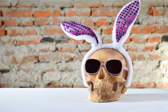 Funny skull with hair hoop in shape of rabbit ears and carnival accessories set. Decoration for party 1 April day or Mexican Day of the dead, Dia de los muertos. April fools day prank.