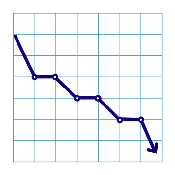 Money loss illustration, flat cartoon cash with down arrow stocks graph, concept of financial crisis, market fall, bankruptcy, budget recession, investment expenses, bad economy reduction.