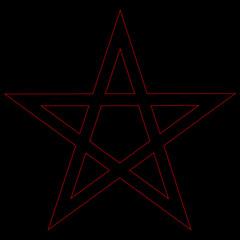 Pentagram blood red runic spell circle. Satanic sign, Magic casting ring. Pentalpha, Pentangle