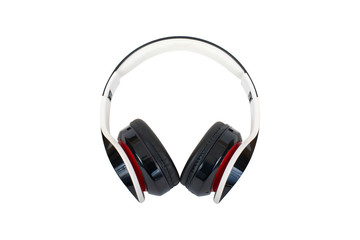 Large black headphones, white background, isolated