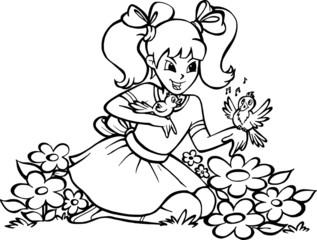 Fototapeta Dziewczynka na kwiatowej łące