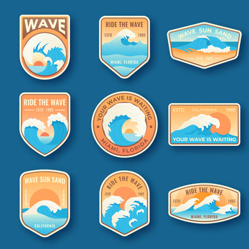Set of nine summer holidays emblems. Labels with sun, waves, and sand in bright blue and orange colors. Beach emblems, badges and logo patches. Summer holidays, surfing
