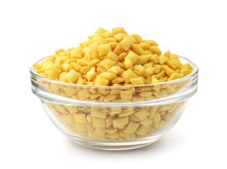 Glass bowl full of mini croutons