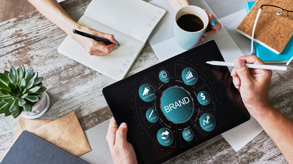 Brand management. Awareness increase, marketing and advertising concept.