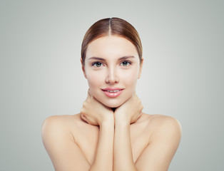 Beautiful woman with healthy skin. Facial treatment, face lifting, anti aging and skin care concept.