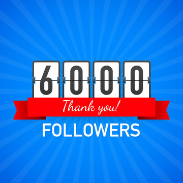 6k followers, Thank You,  social sites post. Thank you followers congratulation card. Vector illustration.