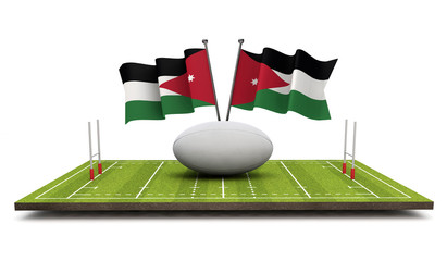 Jordan flags with a rugby ball and pitch. 3D Rendering