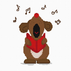 Cross-stitch dog loudly sings a musical greeting. Cell.Vector