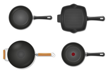 frying pan for fry food on fire stock vector illustration